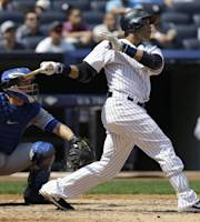 New York Yankees' Robinson Cano looks after a three-run homer during the third inning of the baseball game against the Toronto Blue Jays at Yankee Stadium Tuesday, Aug. 20, 2013 in New York. (AP Photo/Seth Wenig)