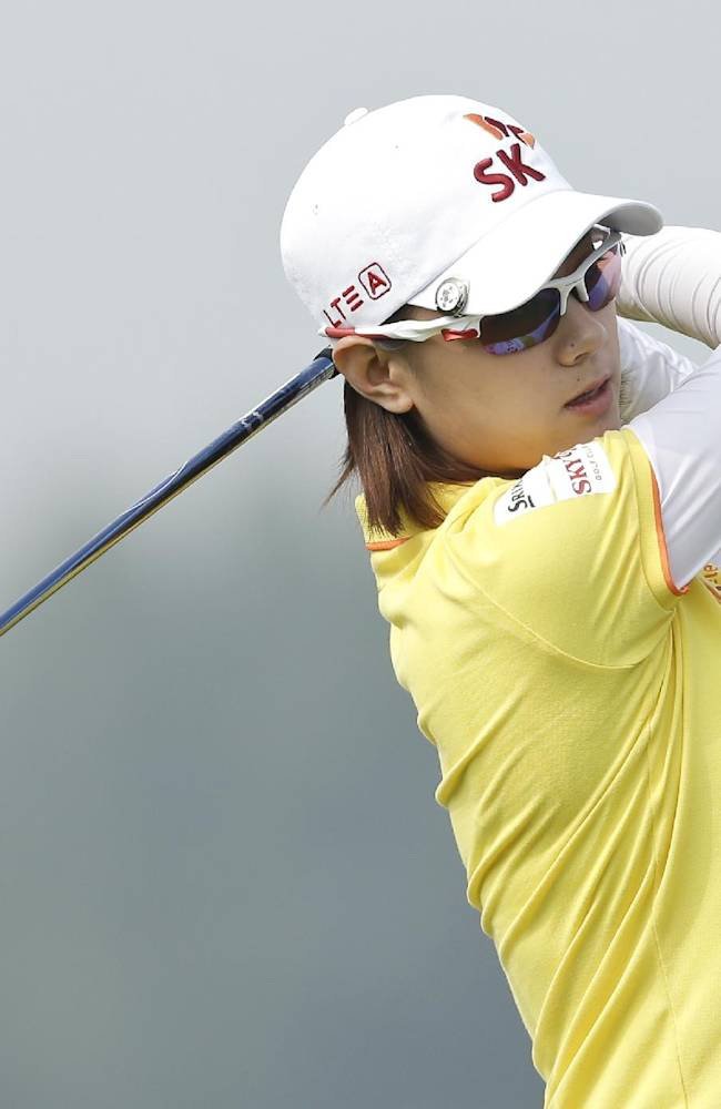 Na Yeon Choi, of South Korea, tees off on the forth hole during the second round of the Reignwood LPGA Classic golf tournament at Pine Valley Golf Club on the outskirts of Beijing, China, Friday, Oct. 4, 2013