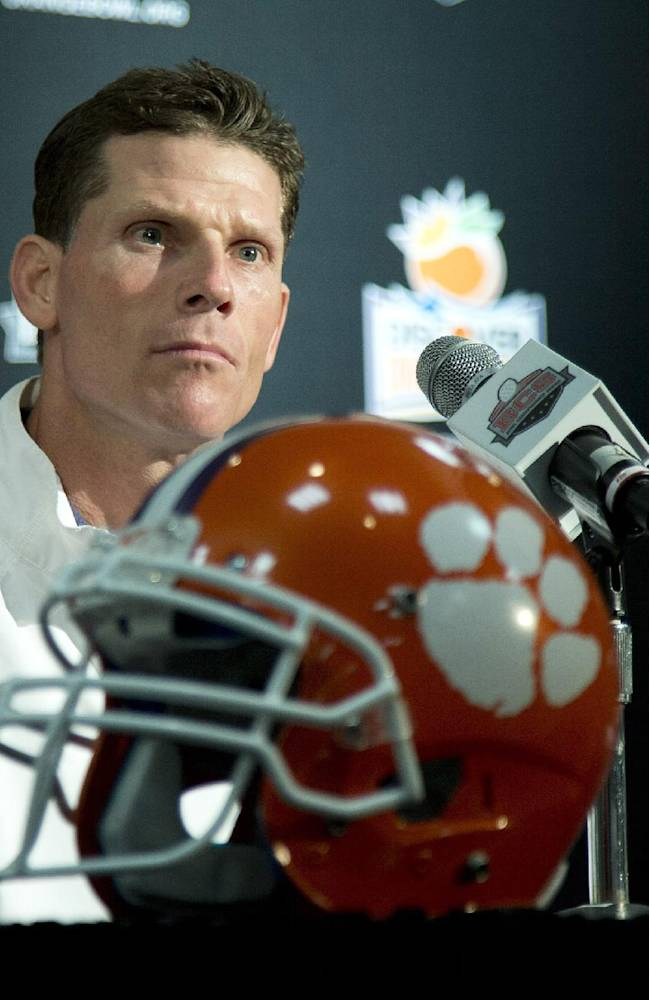Clemson defensive coordinator Brent Venables talks to the media during an NCAA college football news conference on Tuesday, Dec. 31, 2013, in Fort Lauderdale, Fla. Clemson takes on Ohio State in the Orange Bowl on Friday, Jan. 3, 2014