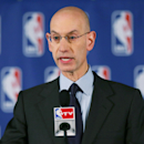 NBA Commissioner Adam Silver holds a press conference to discuss Los Angeles Clippers owner Donald Sterling at the Hilton Hotel on April 29, 2014 in New York City. Silver announced that Sterling will be banned from the NBA for life and will be fined $2.5 million for racist comments released in audio recordings. (Photo by Elsa/Getty Images)