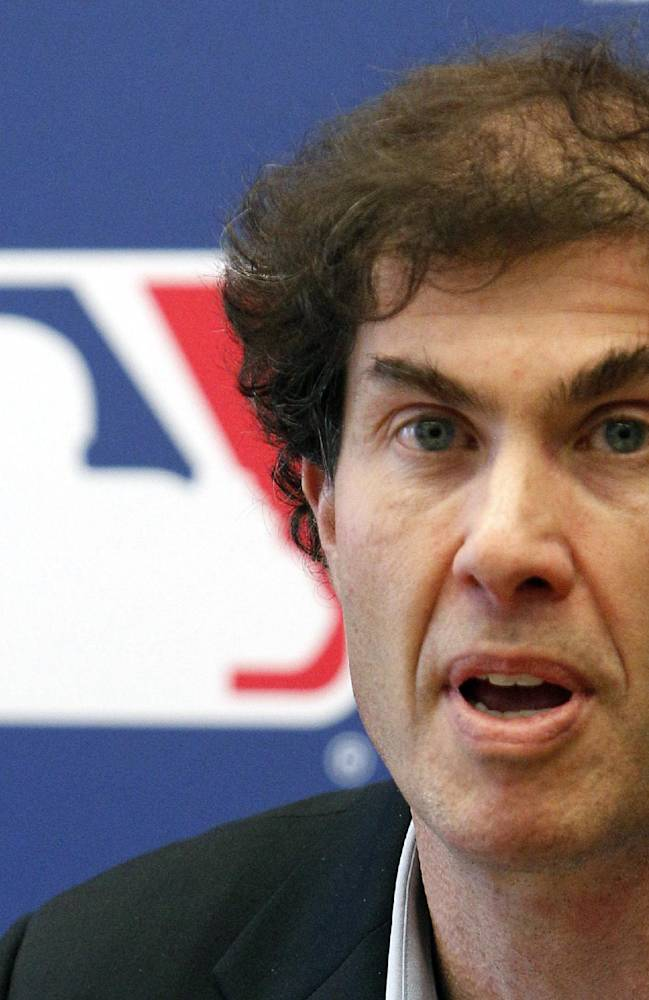 This April 21, 2011 file photo shows baseball players union head Michael Weiner speaking at a news conference in New York. Weiner, the plain-speaking, ever-positive labor lawyer who took over as head of the powerful baseball players' union four years ago and smoothed the group's perennially contentious relationship with management, died Thursday, Nov. 21, 2013, 15 months after announcing he had been diagnosed with an inoperable brain tumor. He was 51. A memorial for Weiner was held Monday, Jan. 20, 2014