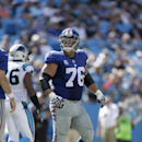 New York Giants' Chris Snee (76) against the Carolina Panthers during the second half of an NFL football game in Charlotte, N.C., Sunday, Sept. 22, 2013. The Panthers won 38-0. (AP Photo/Bob Leverone)