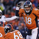 In this Jan. 12, 2014, file photo, Denver Broncos quarterback Peyton Manning (18) calls an audible at the line of scrimmage against the San Diego Chargers in the first quarter of an NFL AFC division playoff football game in Denver. The no-huddle offense h