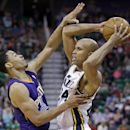 Phoenix Suns' Gerald Green, left, guards against Utah Jazz's Richard Jefferson, right, in the second half of an NBA basketball game on Wednesday, Feb. 26, 2014, in Salt Lake City. The Jazz won 109-86 The Associated Press