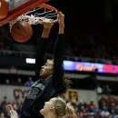 Baylor center Brittney Griner, top, dunks the ball over Iowa State center Anna Prins during the first half of an NCAA college basketball game, Wednesday, Jan. 23, 2013, in Ames, Iowa. (AP Photo/Charlie Neibergall)