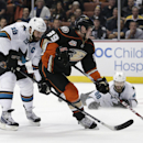Anaheim Ducks' Matt Beleskey (39) shoots and scores as San Jose Sharks' Joe Thornton (19) and Brent Burns (88) watch during the second period of an NHL hockey game Wednesday, April 9, 2014, in Anaheim, Calif The Associated Press