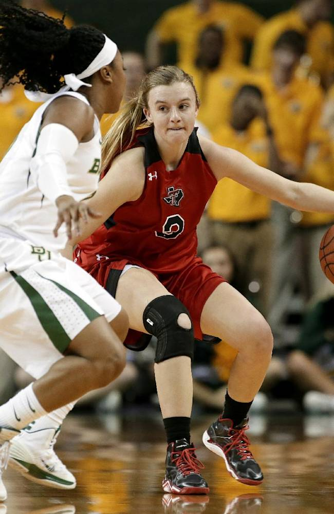 Baylor's Odyssey Sims (0) defends as Texas Tech guard Minta Spears, right, brings the ball up court in the first half of an NCAA college basketball game, Wednesday, Jan. 29, 2014, in Waco, Texas