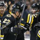 Boston Bruins' Loui Eriksson, of Sweden, right, celebrates with teammate Chris Kelly (23) after scoring the winning goal during overtime in an NHL hockey game in Boston, Sunday, Dec. 21, 2014. The Bruins won 4-3. (AP Photo/Michael Dwyer)