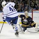Toronto Maple Leafs' Nikolai Kulemin (41) has the puck hit his skate as he tries to screen Buffalo Sabres' Ryan Miller (30) during the second period of an NHL hockey game in Buffalo, N.Y., Friday, Nov. 15, 2013 The Associated Press