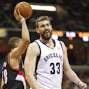Memphis Grizzlies center Marc Gasol (33), of Spain, laughs after being called for a foul against the Portland Trail Blazers in the second half of an NBA basketball game on Tuesday, March 11, 2014, in Memphis, Tenn. Gasol led the Grizzlies with 19 points a