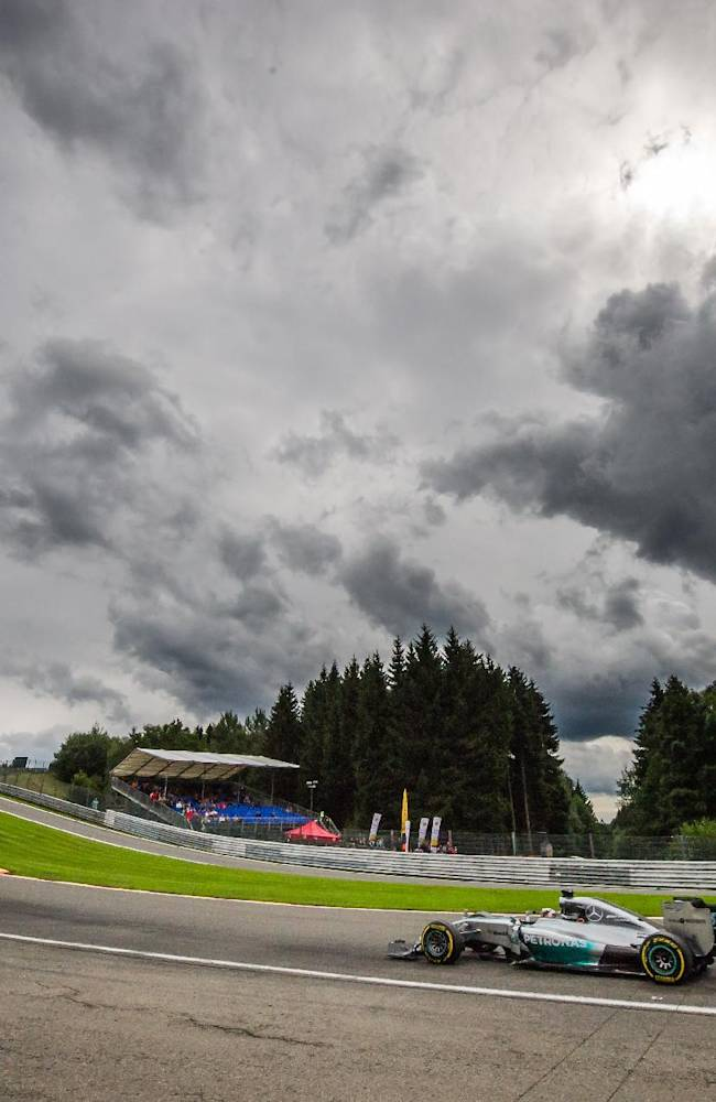 Mercedes driver Lewis Hamilton of Britain steers his car during the second practice session ahead of Sunday's Belgian Formula One Grand Prix in Spa-Francorchamps, Belgium, Friday, Aug. 22, 2014