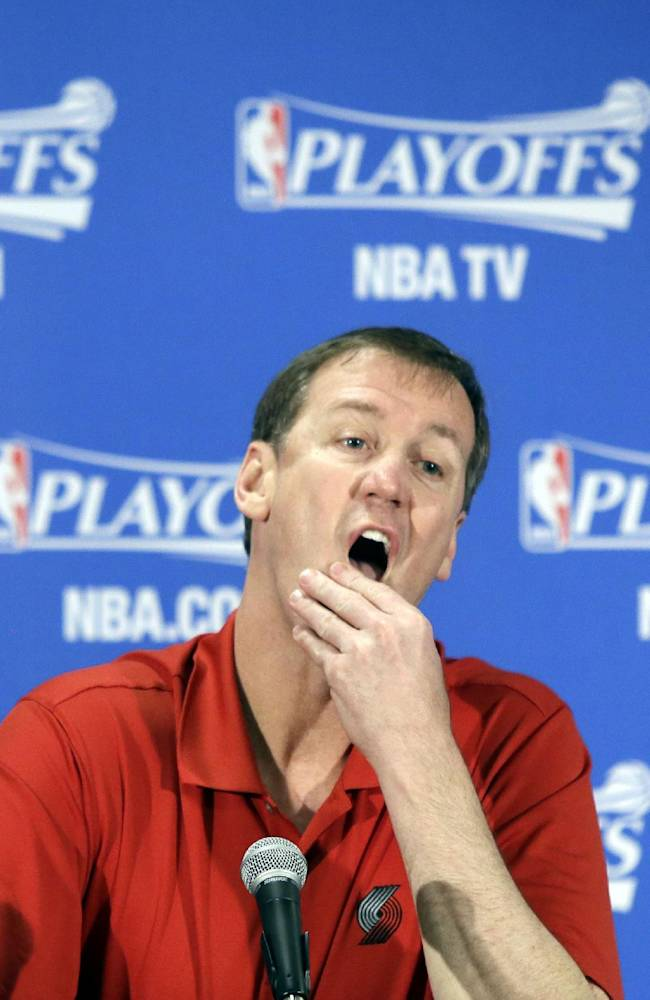 Portland Trail Blazers coach Terry Stotts listens to a question during a news conference in Portland, Ore., Thursday, April 24, 2014.  The Trail Blazers lead the Houston Rockets 2-0 in an NBA basketball first-round playoff series heading into Game 3 in Portland on Friday
