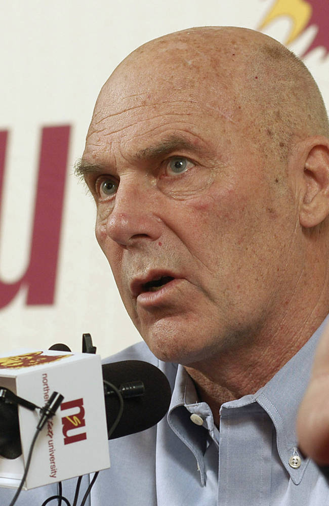 In this Feb. 27, 2010 file photo, Northern State coach Don Meyer addresses the media after an NCAA college basketball game in Aberdeen, S.D., where he announced he would be retiring. Meyer's family said in a statement Tuesday, May 13, 2014, that his health has been declining over the past several months, and after a three-day stay at a hospital with a feeding tube he is now at home in Aberdeen in hospice care. Meyer retired from coaching in 2010 with a then-NCAA record 923 victories in 38 seasons with Northern State, Lipscomb University in Tennessee and Hamline University in Minnesota. The native of Wayne, Neb., is 69 years old