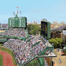 This file artist rendering released Tuesday, May 27, 2014, by the Chicago Cubs shows a revised renovation plan for the right field bleachers at Wrigley Field in Chicago. WBBM-TV reports Wednesday, April 26, 2014 that renovation may be delayed due to Novem