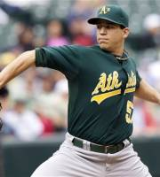 Oakland Athletics starter Tommy Milone delivers a pitch during the second inning of a baseball game against the Seattle Mariners in Seattle, Sunday, Sept. 9, 2012. (AP Photo/Stephen Brashear)