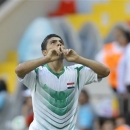 Iraq's Farhan Shakor celebrates after scoring his side's second goal during the Under-20 World Cup quarterfinal soccer match between Iraq and South Korea, in Kayseri, Turkey, Sunday, July 7, 2013. (AP Photo/Vadim Ghirda)