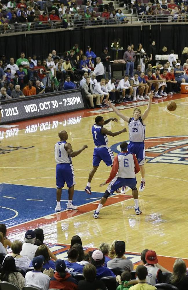 The Detroit Pistons scrimmage during an open practice at NBA basketball camp at the Palace of Auburn Hills, Mich., Saturday, Oct. 5, 2013
