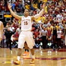 Iowa State guard Naz Long celebrates after hitting a 3-pointer at the buzzer to tie the game and send it to over time during the second half of an NCAA college basketball game against Oklahoma State in Ames, Iowa, Saturday, March 8, 2014. Iowa State won 85-81 in overtime. (AP Photo/Justin Hayworth)