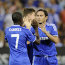 Chelsea midfielder Frank Lampard, right, celebrates his goal with teammate Ramires (7) during the second half of an international friendly soccer game against Roma, Saturday, Aug. 10, 2013, in Washington. Chelsea won 2-1. (AP Photo/Nick Wass)