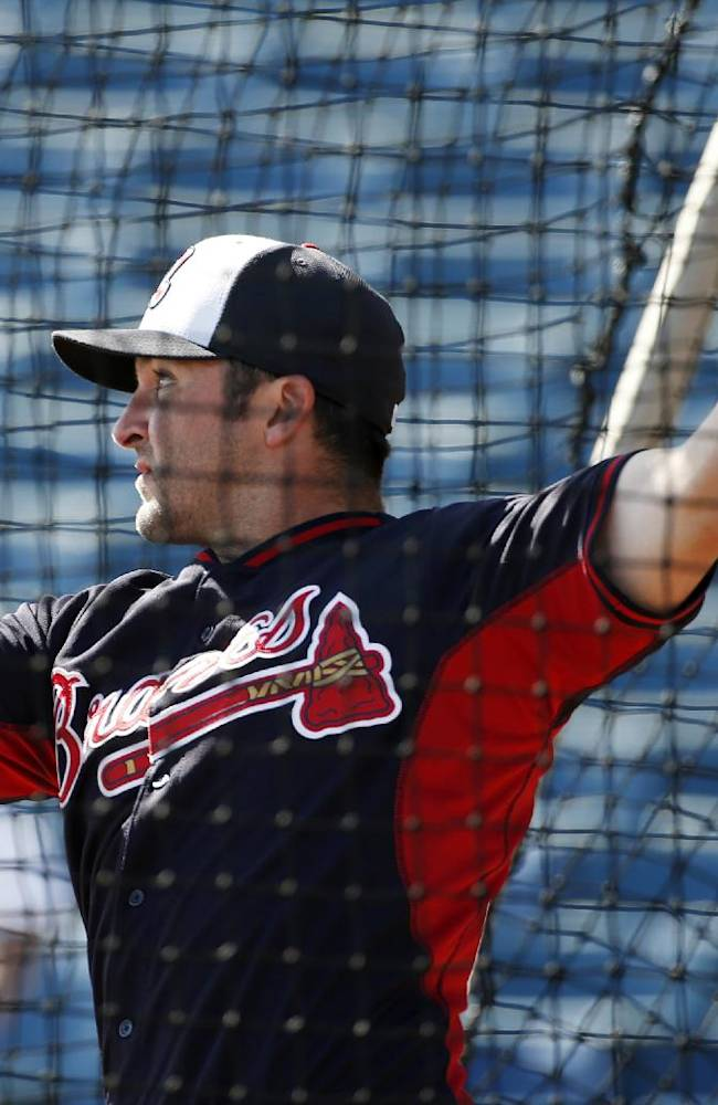 Atlanta Braves Dan Uggla takes batting practice before a spring exhibition baseball game against the New York Yankees in Tampa, Fla., Sunday, March 16, 2014