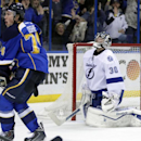 St. Louis Blues' T.J. Oshie (74) celebrates a shorthanded goal as Tampa Bay Lightning goalie Ben Bishop (30) reacts during the second period of an NHL hockey game, Tuesday, March 4, 2014 in St. Louis The Associated Press