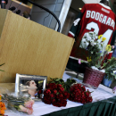 A photo of Derek Boogaard and his jersey sit on a table during a memorial at Xcel Arena Sunday, May 15, 2011 in St. Paul, Min