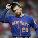 New York Mets' Ike Davis takes off his helmet after he flied out during the fourth inning of a baseball game against the Los Angeles Angels on Saturday, April 12, 2014, in Anaheim, Calif The Associated Press