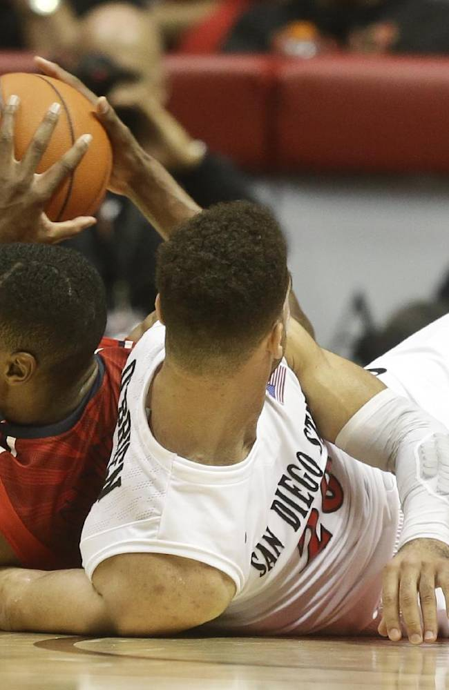 Arizona forward Rondae Hollis-Jefferson beats San Diego State 's JJ O'Brien for a loose ball during the second half of Arizona's 69-60 victory in a NCAA college basketball game Thursday, Nov. 14, 2013, in San Diego
