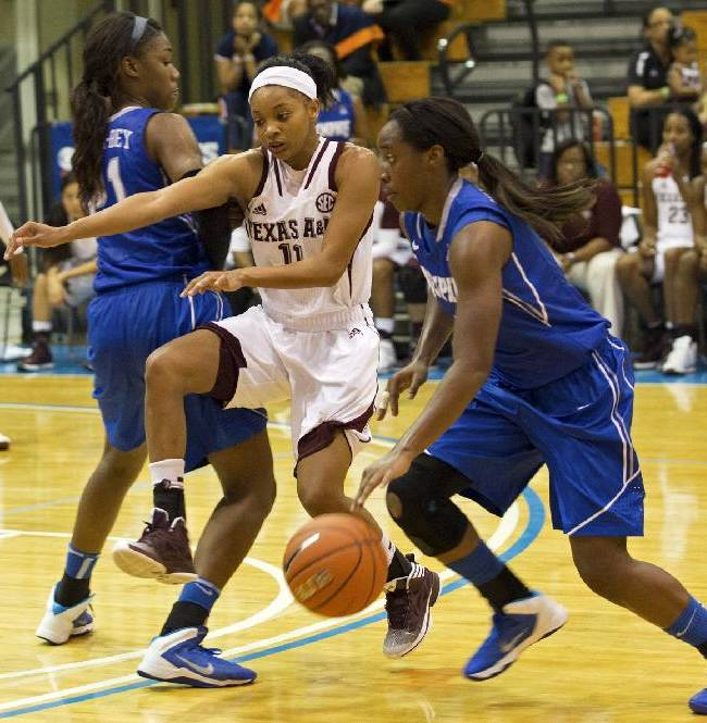 Memphis' Breigha Wilder-Cochran, right, dribbles past Texas A&M's Curtyce Knox, center, assisted by teammate Asia Fuqua-Bey during the first half of an NCAA college basketball game in St. Thomas, U.S. Virgin Islands, Thursday, Nov. 28, 2013