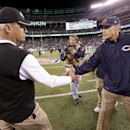 Chicago Bears head coach Marc Trestman, right, greets New York Jets head coach Rex Ryan after the Bears beat the Jets 27-19 in an NFL football game, Monday, Sept. 22, 2014, in East Rutherford, N.J The Associated Press