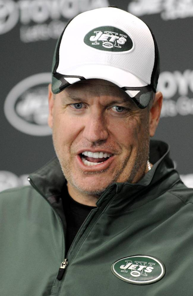 New York Jets coach Rex Ryan speaks to the media during an NFL football rookie camp on Saturday, May 17, 2014, in Florham Park, N.J