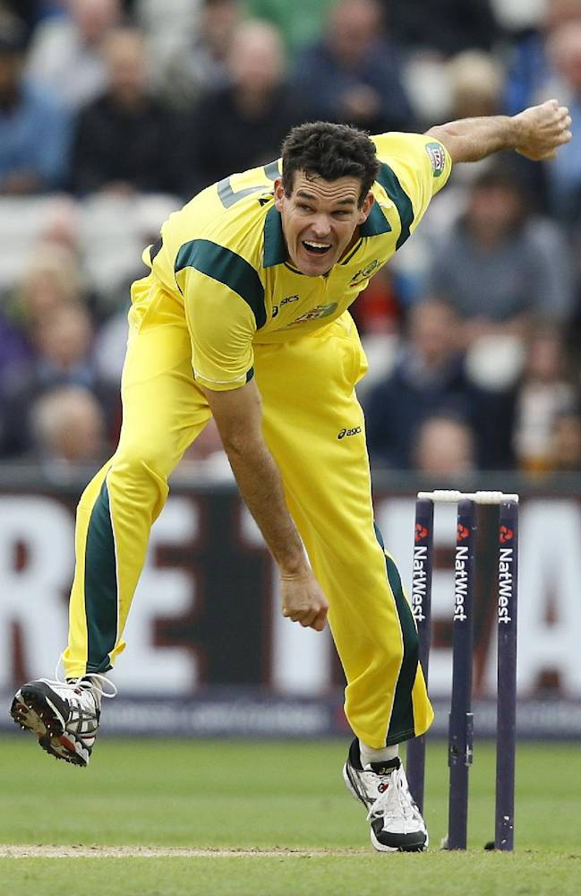 Australia's Clint McKay bowls during their third one day international cricket match against England at Edgbaston cricket ground in Birmingham, England, Wednesday, Sept. 11, 2013