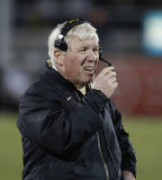 Central Florida coach George O'Leary stands on the sideline during the second half of an NCAA colleg efootball game against South Florida on Friday, Nov. 29, 2013, in Orlando, Fla. UCF won 23-20. (AP Photo/Reinhold Matay)