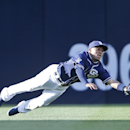 San Diego Padres center fielder Alexi Amarista makes a diving catch to rob San Francisco Giants' Hunter Pence in the first inning of a baseball game Saturday, April 19, 2014, in San Diego The Associated Press