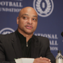 Former West Virginia linebacker Darryl Talley speaks during a news conference in New York, Tuesday, Dec. 6, 2011. Talley was one of 14 players and two coaches to be part of the 2011 College Football Hall of Fame class. (AP Photo/Seth Wenig)