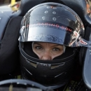 Katherine Legge, of England, sits in her car  as the slowest qualifier in the field on the second day of qualifications for the Indianapolis 500 auto race at the Indianapolis Motor Speedway in Indianapolis  Sunday, May 19, 2013. (AP Photo/Darron Cummings)