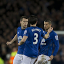 Everton's Kevin Mirallas, right, celebrates with teammates after scoring during the English Premier League soccer match between Everton and Queens Park Rangers at Goodison Park Stadium, Liverpool, England, Monday Dec. 15, 2014