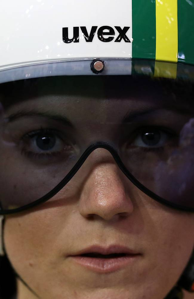 Australia's Anna Mears awaits the start of her race in the women's sprint final race 1 in the Chris Hoy velodrome during the Commonwealth Games Glasgow 2014, Scotland, Scotland, Sunday July 27, 2014