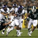 TCU's Matthew Tucker (29) carries the ball during the first quarter of the Buffalo Wild Wings Bowl NCAA college football game against Michigan State at Sun Devil Stadium, Saturday, Dec. 29, 2012, in Tempe, Ariz. (AP Photo/The Arizona Republic, )