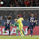 Chelsea's Branislav Ivanovic, center (2), scores the opening goal during the Champions League round of 16 first leg soccer match between Paris Saint Germain and Chelsea at the Parc des Princes stadium in Paris, France, Tuesday, Feb. 17, 2015. (AP Photo/Mi