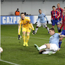 Manchester City's James Milner, front, scores his side's 2nd goal during the Group E Champions League soccer match between CSKA Moscow and Manchester City at Arena Khimki stadium in Moscow, Russia, Tuesday, Oct. 21, 2014