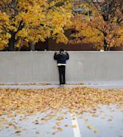 Young Georgia Tech fan Danielle Vaughn, 10, of Acworth, Ga., tries to get a glimpse of players as they walk down Yellow Jacket Alley past the fall colors of maple trees before entering the stadium for an NCAA college football game against Alabama A&M, Saturday, Nov. 23, 2013, in Atlanta. (AP Photo/John Amis)