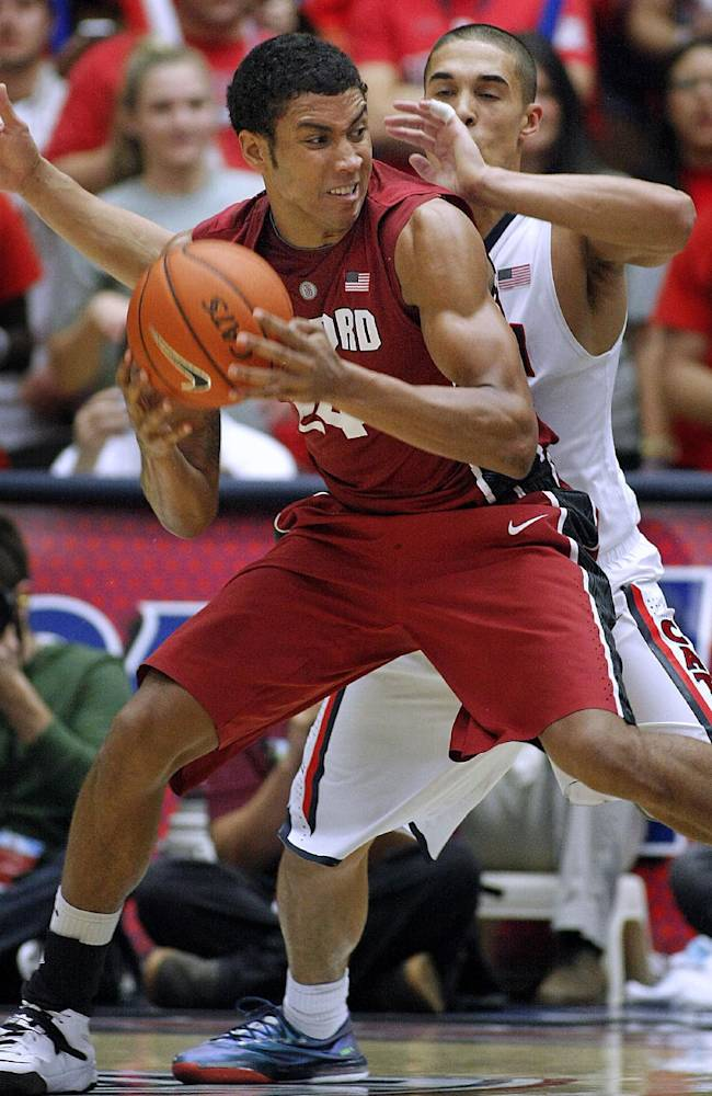 Stanford's Josh Huestis, in front, maneuvers against Arizona's Nick Johnson, back, for a shot in the second half of an NCAA college basketball game Sunday, March 2, 2014, in Tucson, Ariz. Arizona won 79-66