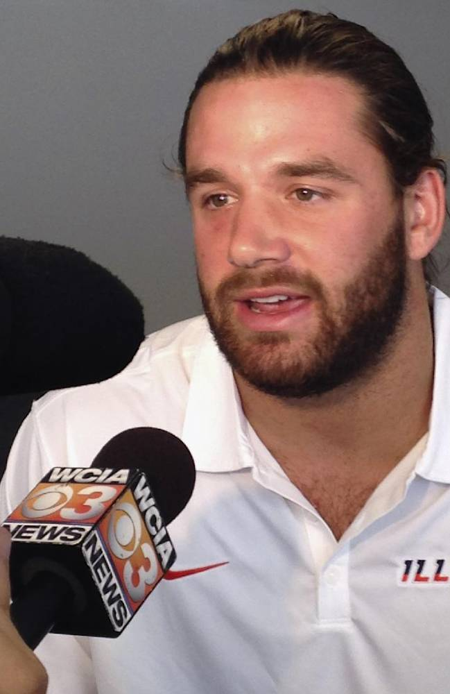 Illinois linebacker Mason Monheim talks to reporters at Memorial Stadium in Champaign, Ill., on Monday, Aug. 25, 2014. Monheim echoed his coaches, saying the Illini defense needs to start fast in its opener Saturday against Youngstown State
