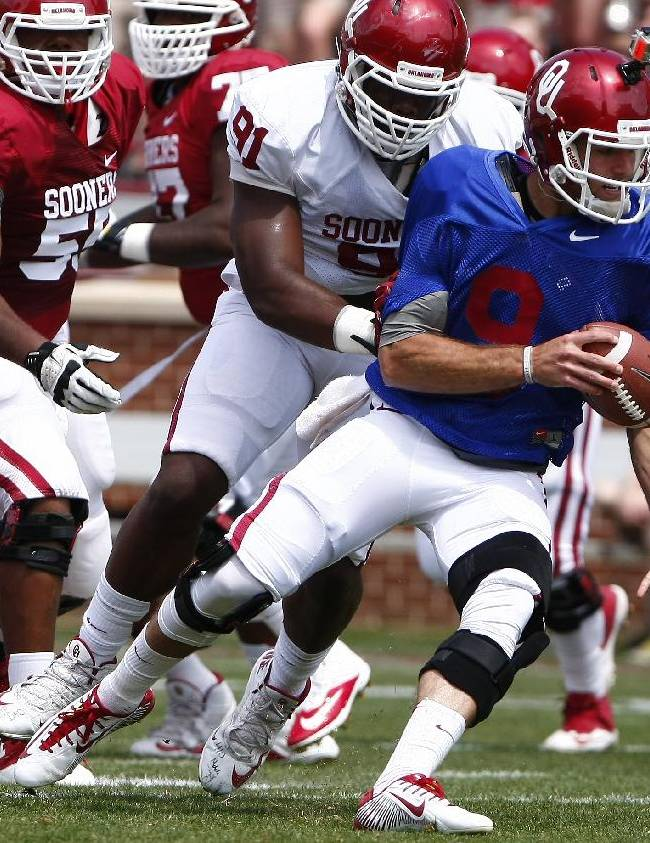QB Baker Mayfield perfect in Oklahoma spring game