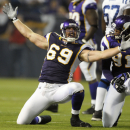 In this Sept. 14, 2008, file photo, Minnesota Vikings defensive ends Jared Allen (69) and Ray Edward, right, celebrate Allen's sack of Indianapolis Colts quarterback Payton Manning during an NFL football game in Minneapolis. Celebrations that used to be p