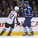 Toronto Maple Leafs left winger James van Riemsdyk celebrates his goal in front of Colorado Avalanche right winger Jarome Iginla during the first period of an NHL hockey game Tuesday, Oct. 14, 2014, in Toronto The Associated Press