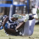 Dallas Cowboys wide receiver Jamar Newsome (85) can't catch a ball thrown to him at NFL football training camp, Wednesday, July 30, 2014, in Oxnard, Calif The Associated Press