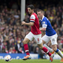 Arsenal's Mikel Arteta, centre, keeps the ball from Everton's James McCarthy during their English Premier League soccer match at Goodison Park Stadium, Liverpool, England, Sunday April 6, 2014