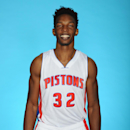 AUBURN HILLS, MI - SEPTEMBER 29: Hasheem Thabeet #32 of the Detroit Pistons poses during Detroit Pistons Media Day on September 29, 2014 in Auburn Hills, Michigan. (Photo by Allen Einstein/NBAE via Getty Images)